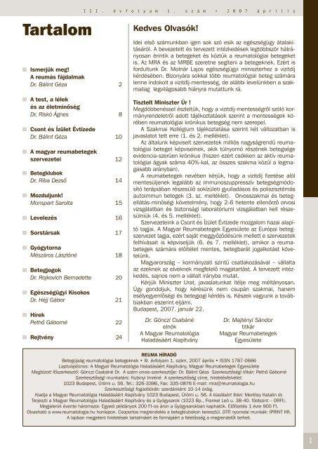 ízületi és gerincbetegségek kezelésére vonatkozó ajánlások)