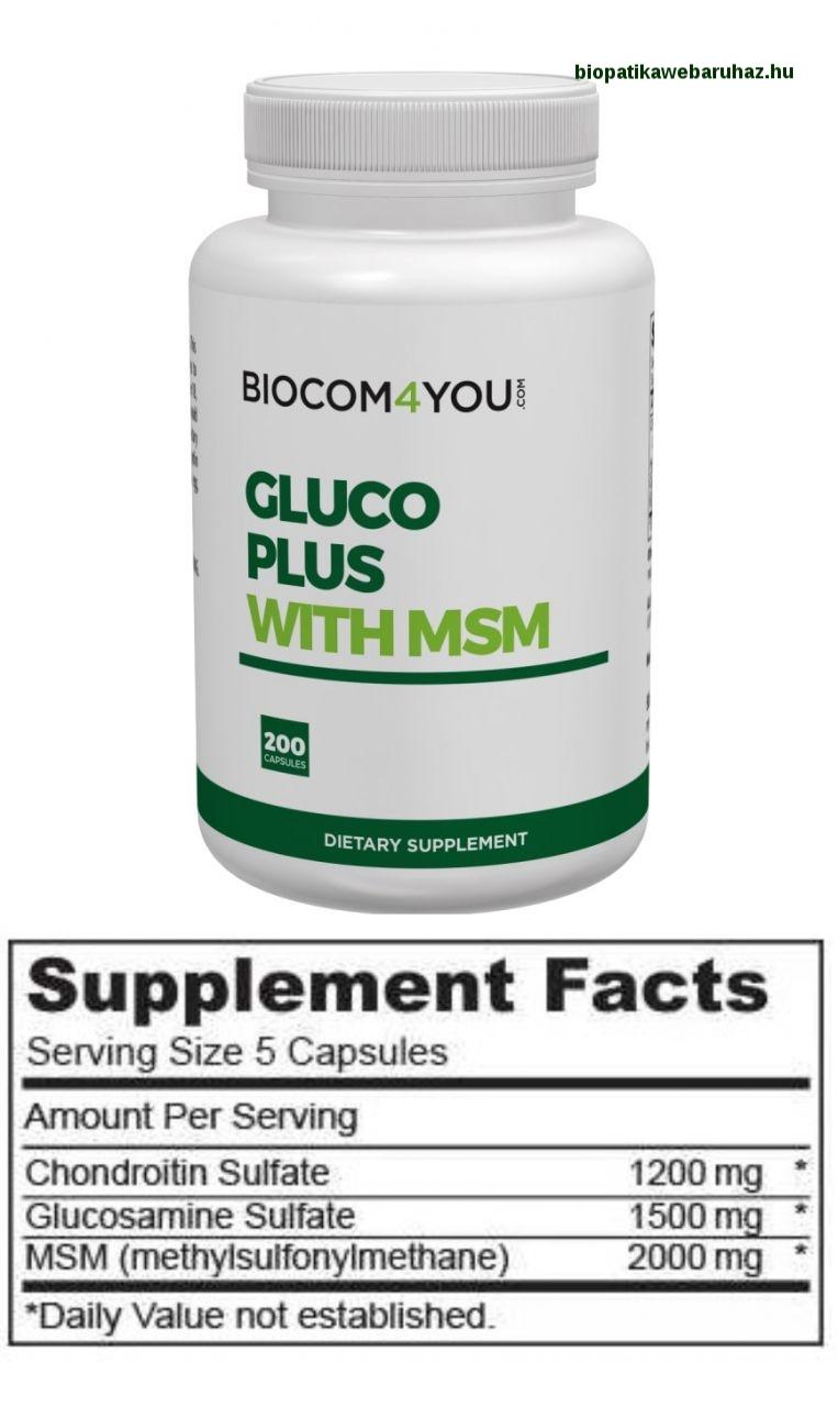 GLUCO PLUS WITH MSM - glükozamin és a kondroitin-szulfát természetes kénvegyülettel